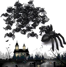 50Pcs Plastic Black Spider Halloween Decoration Festival Funning Realist... - $5.89