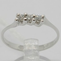 ANNEAU OR BLANC 750 18K, TRILOGY AVEC DIAMANT CARAT 0.15, MADE IN ITALY image 1