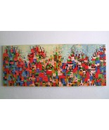 Contemporary Original Oil Painting Abstract Cityscape Impasto Palette Kn... - $350.00