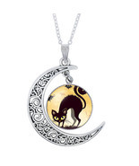 Halloween Black Cat Ghost Picture Glass Cabochon Pendant Necklace For Wo... - ₨390.42 INR