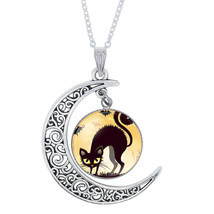 Halloween Black Cat Ghost Picture Glass Cabochon Pendant Necklace For Wo... - $99,41 MXN
