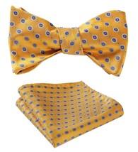 SetSense Men's Floral Jacquard Wedding Party Self Bow Tie Pocket Square Set Yell - $27.00