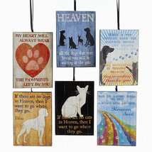 "KURT ADLER SET OF 6 ASSORTED 4"" WOODEN PET LOSS PLAQUE ORNAMENTS w/SAYINGS - $12.88"