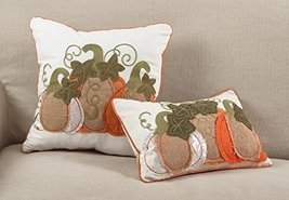 "Fennco Styles Patchwork Pumpkin Design Poly Filled Throw Pillow (18"" Squ... - $34.64"