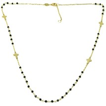 18K YELLOW GOLD NECKLACE, FACETED BLACK SPINEL FLAT CROSS, ROLO CHAIN, ALTERNATE image 2