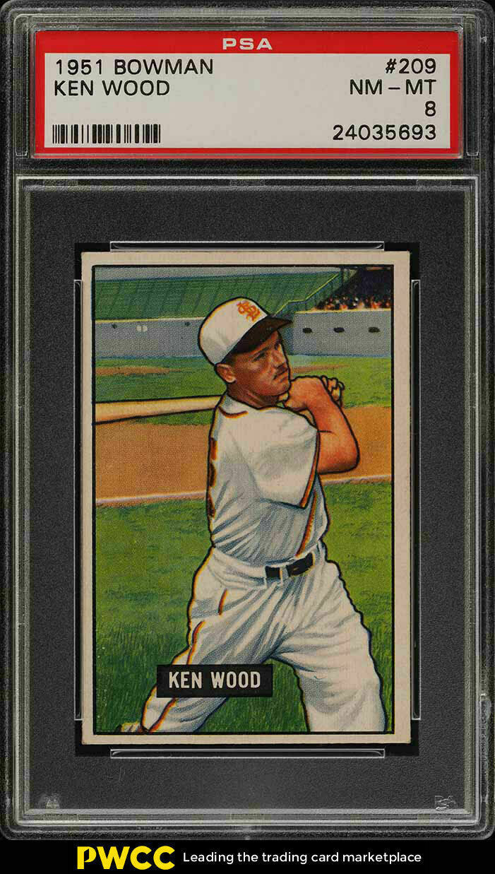Primary image for 1951 Bowman Baseball Card  #209 Ken Wood PSA 8 NM-MT - St Louis Browns