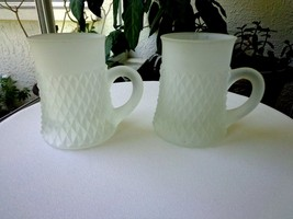 Set of 2 Indiana Glass Diamond Point Frosted Mugs - $14.85
