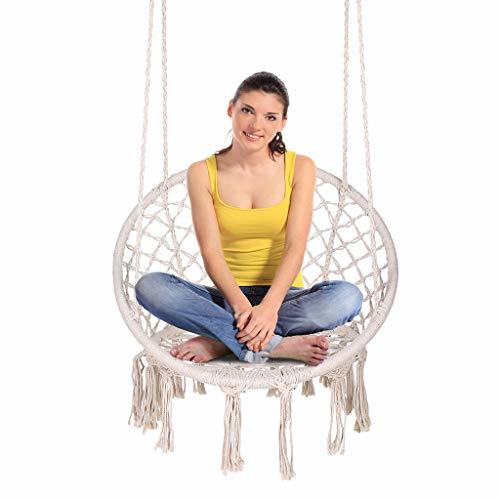 ENKEEO Hammock Chair Macrame Swing, Hanging Rope Chair Cotton Fabric for Indoor