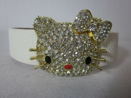 Adorable Sparkle Bling Hello Kitty Leather Bracelet White Color - $19.79