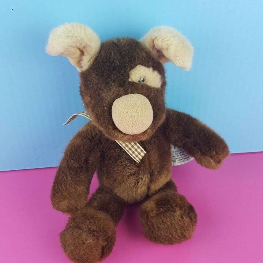 "Primary image for Russ Berrie Podge Plush Brown Dog Puppy Stuffed Animal 10"" Spot Eye Plaid Ribbon"