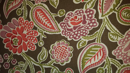 FUNKY FLORAL Pink Aqua Gold  On COCO Brown Cotton Upholstery Fabric, 07-29-12-11 - $7.57
