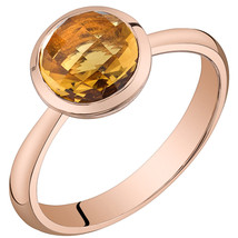 Women's 14k Rose Gold Round Citrine Solitaire Ring - $399.99