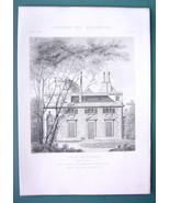 ARCHITECTURE PRINT 1878: PARIS Castle Bagatelle at Bois de Boulogne Facade - $10.80