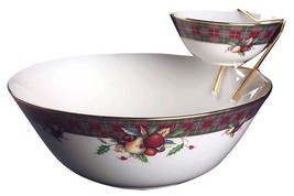 Holiday Tartan Tier Bowl Set-2 Bowls and Metal Holder by Lenox NEW IN TH... - $158.39