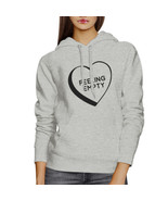 Feeling Empty Heart Unisex Grey Hoodie Letter Printed Cute Design - $25.99+