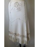 UNIQUE WESTERN RALPH LAUREN BLUE LABLE WHITE LEATHER POCAHONTAS SKIRT. S... - $396.00