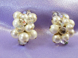 RICHELIEU PEARL AB CRYSTAL Bead Cluster Clip Earrings Aurora Borealis Vi... - $13.85