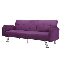 Sleep Sofa Purple Reversible Sectional Futon Small Apartment Two Cup Hol... - $282.14