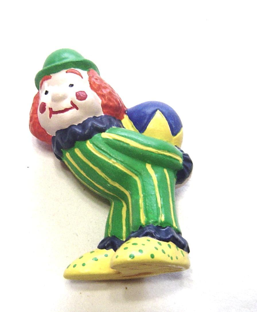 Primary image for  Miniature Ceramic Clown with Ball Red Hair Green Striped Suit.