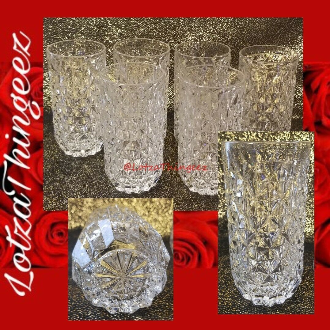 "Set/6 Heavy Crystal Diamond Pattern 6"" Highball/Tumbler Glasses Clear Beauty"
