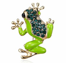Stunning Diamonte Gold Plated Vintage Look Frog Christmas Brooch Cake Pin B2 - $12.53