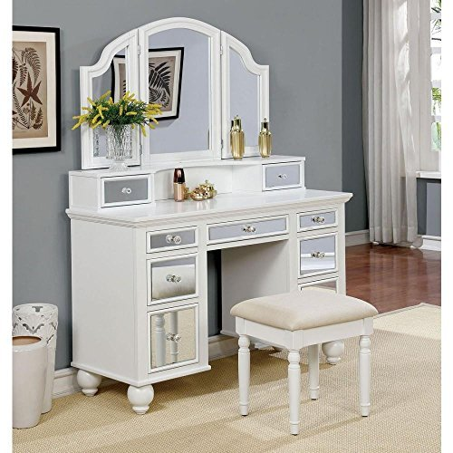 Howley Girls Bedroom 3 Piece Set Vanity Desk, Tri-Fold ...