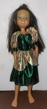 "2004 Mattel Black Hair Girl Doll 10"" in Mix Green Gold Pattern Dress - $13.86"