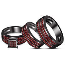 14k Black GP 925 Silver His & Her Round Cut Red Garnet Trio Ring Set Free Shipp - $175.99