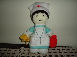 NURSE DOLL Handmade Knitted with Rosary Beads - $53.04