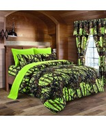 The Woods Camo Lime 12 piece Queen Size Comforter and Sheet Set with Cur... - $90.25
