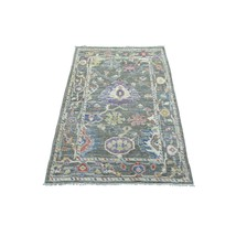 """3'x4'10"""" Gray Angora Oushak Soft Wool Hand Knotted Oriental Rug G68953 - $398.56"""