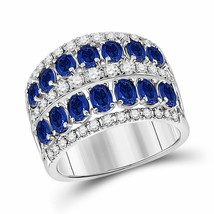 14kt White Gold Womens Oval Blue Sapphire Diamond Cocktail Band Ring 3.0... - £1,261.90 GBP