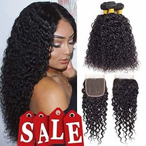 Brazilian Virgin Hair Kinky Curly Hair Bundles with Closure Unprocessed ... - $49.61