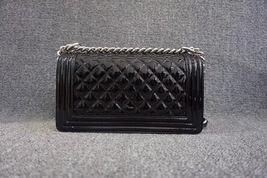 100% AUTH Chanel Le Boy Black Patent Leather Plexiglass Medium Quilted Flap Bag  image 2