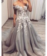 Off the Shouder Light Gray Tulle Court Train Prom DResses with Appliques... - $159.00
