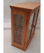 Small Wood Curio Shelf Glass Doors Etched Glass Sides Hang or Stand - $12.00