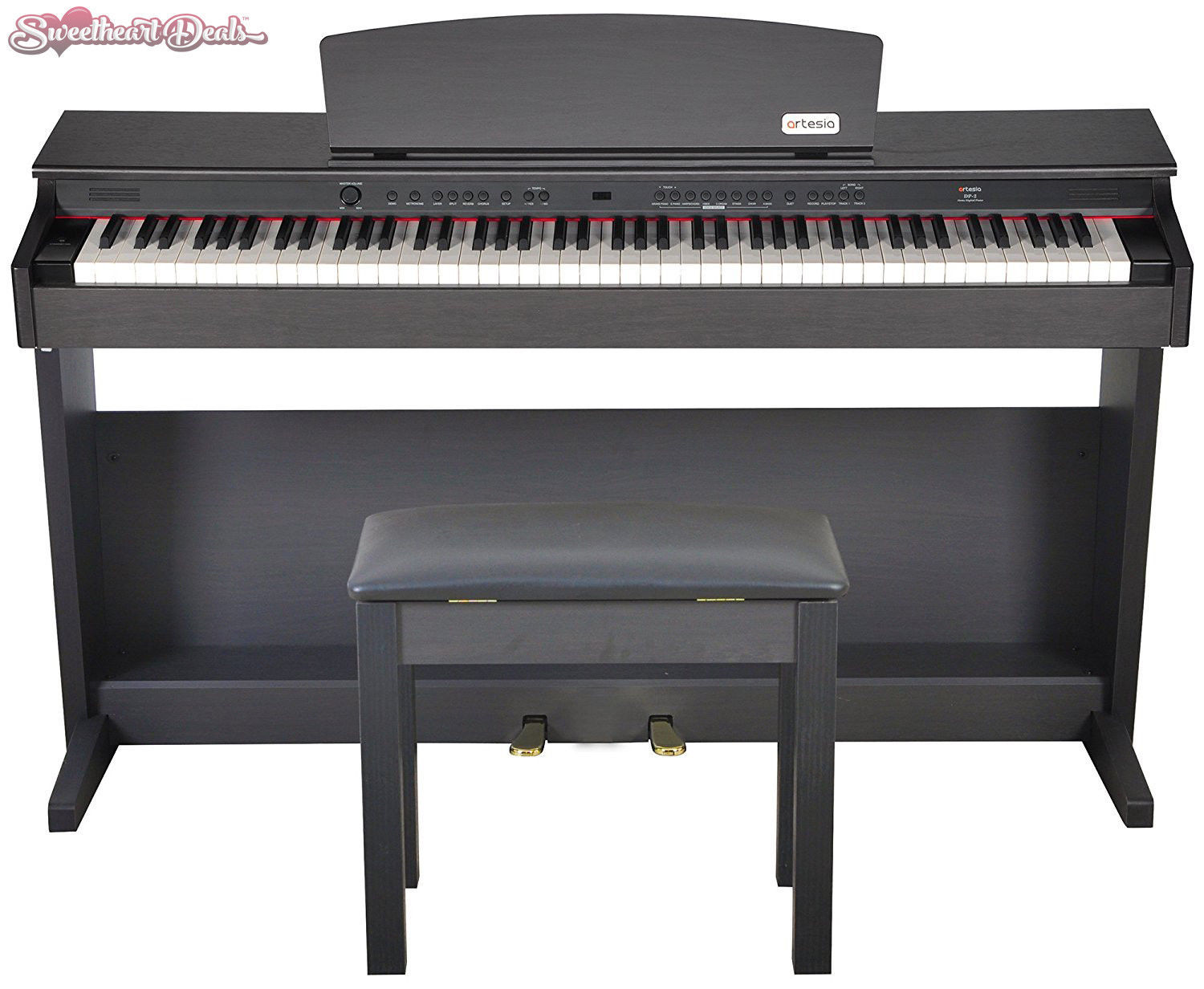 artesia dp 2 series 88 weighted keys traditional digital piano w bench rosewood digital. Black Bedroom Furniture Sets. Home Design Ideas