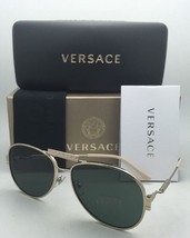 New VERSACE Sunglasses VE 2167-Q 1252/71 Gold Aviator Frames w/Grey-Green Lenses