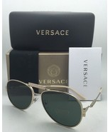 New VERSACE Sunglasses VE 2167-Q 1252/71 Gold Aviator Frames w/Grey-Gree... - $399.95