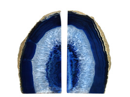 Large 5.25 Tall Polished Blue Agate Natural Geode Stone Bookends- a Pair - $97.00