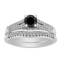 2.46 Carat Black & White Diamond 14k White Gold Over Engagement Wedding Ring Set - $98.12