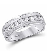 10k White Gold Mens Round Diamond Comfort-fit Wedding Anniversary Band 1... - $445.49