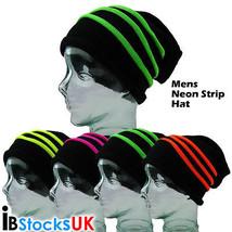 3D Neon Stripe Slouch Hat Adult Size Unisex Mens Ladies Warm Winter Snow... - $3.87