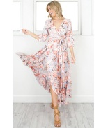 New pink blue floral V neck casual boho wrap long women dress maxi sprin... - $48.00