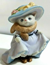 Kitty Cucumber Cat Figurine Spring Easter Dress Up Anthropomorphic Cats ... - $14.50