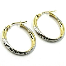 18K YELLOW WHITE GOLD OVAL CIRCLE HOOPS PENDANT EARRINGS, TWISTED 2.5cm ONDULATE image 1