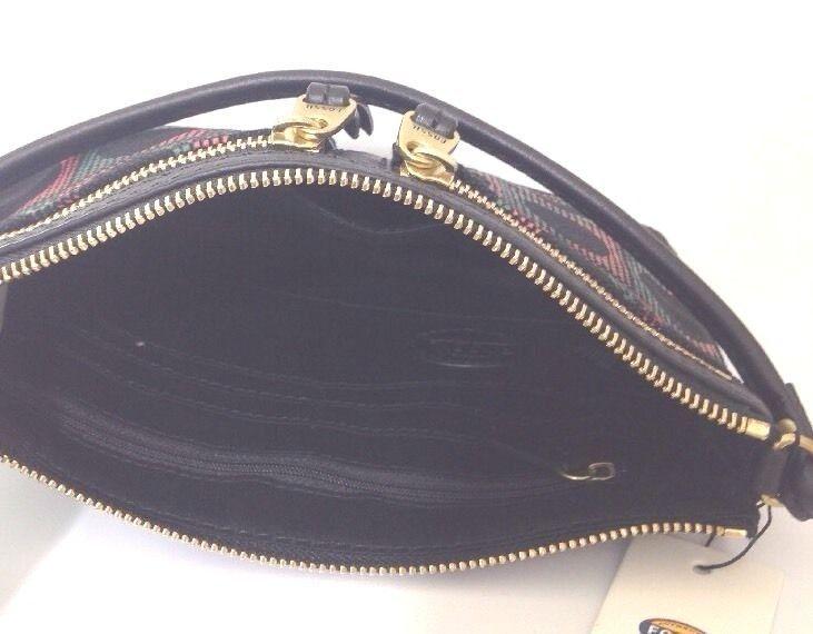 fossil Erin noir gris rose cuir toile petit sac à bandoulière