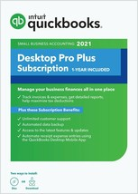 3 user QuickBooks Desktop PRO PLUS 2021. 1 year of Intuit Support. Subsc... - $399.99