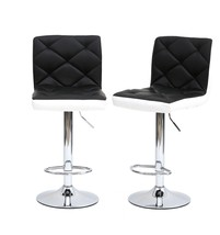 Set Of 2 Black&White Bar Stools Adjustable 360 Degree Swivel Backrest Ba... - $89.09
