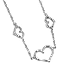 18K WHITE GOLD SQUARE ROLO MINI BRACELET, 7.5 INCHES, 3 HEARTS, MADE IN ITALY image 2